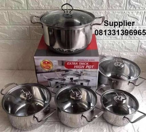 Panci Set Stainless Steel HIGH POT Steamer 10 pcs