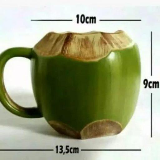 Ukuran Mug gelas model batok kelapa