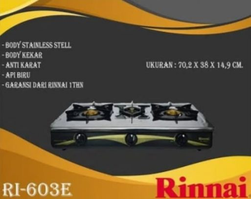 Jual Kompor Gas Rinnai 3 Tungku Type RI 603 E